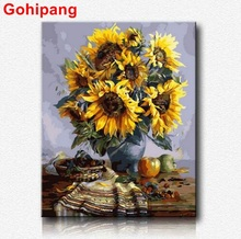 Sunflower Paint By Numbers Modular pictures on canvas for drawing house decorative canvas for artist oil painting by number