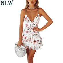 Buy NLW White Tired Ruffle V Neck Wrap Dress Summer Sexy Cute Strap Mini Dress 2018 Women Backless Peplum Short Dress Chic Vestidos for $17.99 in AliExpress store