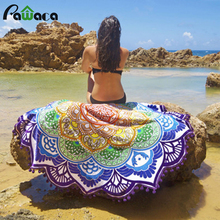 Indian Hippy Mandala Summer Round Beach Towel Tapestry Beach Shawl Bohemian Chiffon Swimsuit Mandala Printed Bathing Yoga Mat(China)