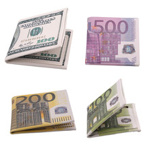 New Wallet Men Personality 500/100/200 Euro Bill Pockets Card Short Wallet Bifold PU Leather Wallets Purse pa642126