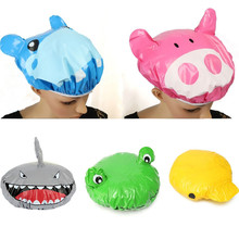 Fashion Cute Cartoon Animal Design Waterproof PVC Elastic Spa Shower Hat Bath Hair Cover Protector Hats Bathroom Product  Cap