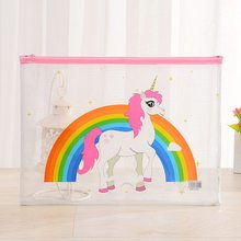 Kawaii Cartoon Unicorn Pencil Case Cute A5 Transparent PVC Pencil Bag For Girls Kids Children School Supplie Stationery(China)