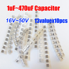Free Shipping 13valuesX10pcs=130pcs SMD 16V~50V Aluminum Electrolytic Capacitor Assortment Kit Pack for Computer Motherboard(China)