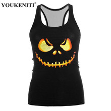 YOUKENITI Halloween Dance Party Pumpkin Lantern Funny Cute Printing High Elastic Quick Drying Breathable Tank Tops For Woman(China)