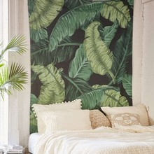 Green plants big banana leave cloth tapestry,multi-function tapestry 140*200cm, table cloth, wall cloth, wearable beach blanket