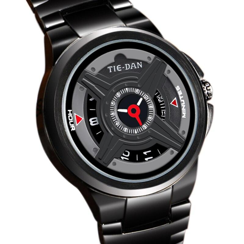 TIEDAN Luxury Men Watch Modern Black Stainless Steel Black Wristwatches Quartz Fashion Steering Wheel Dial 3ATM Water Resistant<br><br>Aliexpress