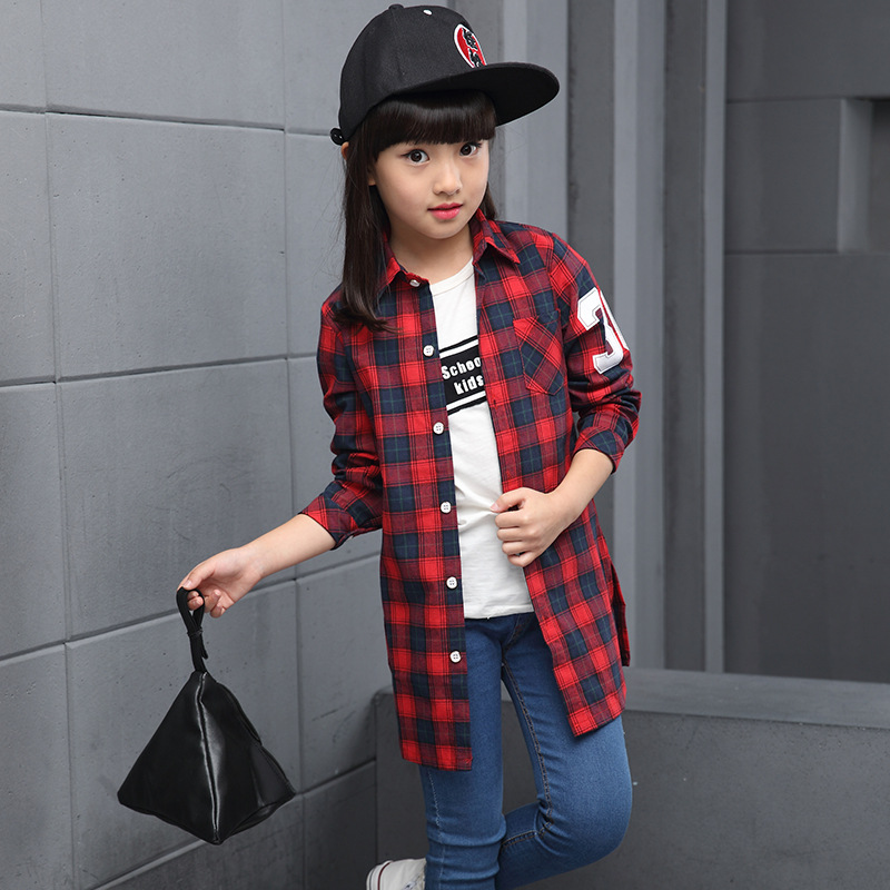 2017 New Autumn&amp;Spring Cotton costume Clothes for girls Children and adolescents Long sleeves shirt 6 7 8 9 10 11 12 Years old <br>