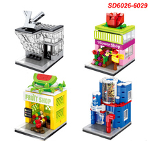 4sets/Lot Mini Street View PepsiCo Store fruit  LV shop flower streets Store Building Bricks Block Compatible City CREATOR toys