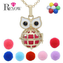 Gold Globe Owl Cage Locket Chime Ball Angel Caller Pendant Necklace Fragrance Perfume Aromatherapy Essential Diffuser Jewelry