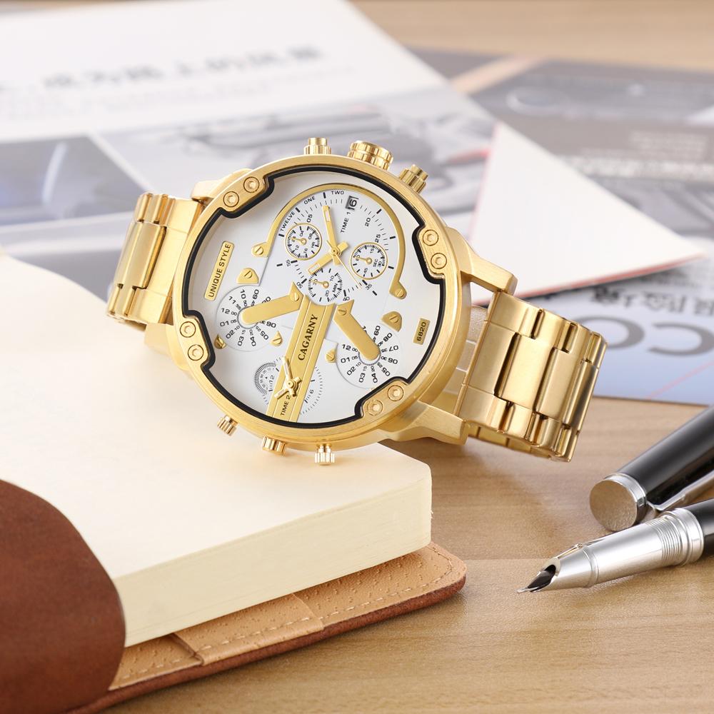 Cagarny Watches Men Fashion Quartz Wristwatches Cool Big Case Golden Steel Watchband Military Relogio Masculino Diesel Style dz6820 (5)