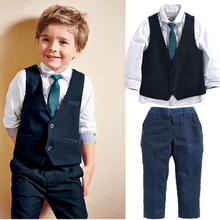 2016 Fashion Gentleman Style Boys Blazers Kids Vest+Tie+Shirts+Pants 4 Pcs/Set Children Clothing Set For Wedding 2-7Y Z359