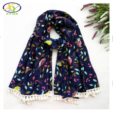 1PC 180*95CM Cotton Fashion Women Long Tassels Scarf Soft Spring Female New Cotton Viscose Big Wraps Pashminas(China)