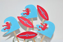 red Surf Party-Beach Party-Surfboard-Surfer cupcake toppers sea wedding cocktail Party Food Picks free shipping
