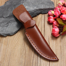 New Straight Leather Scabbard Case Bag For Fixed Blade Knives Brown Hunting Knife Pockets Case Knife Set