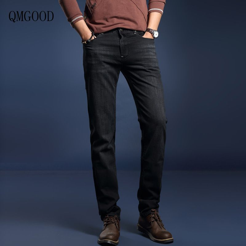 QMGOOD Hot Sales Fashion Black Slim Mens Jeans 2017 New Spring and Autumn Mens Straight Micro-elastic Casual Jeans Male PantsÎäåæäà è àêñåññóàðû<br><br>