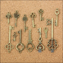 New 13 Assorted Antique Vintage Old Look Bronze Pendants Vintage Key Collectibles Good Gift(China)