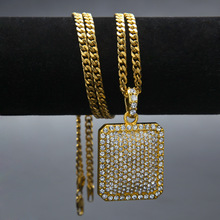 "24"" Cuban Chain Mens Full Iced Out Cz Gold Silver Filled Square Dog Tag Pendant 5mm*30'' / 3mm* Hip Hop Blingbling Necklace"