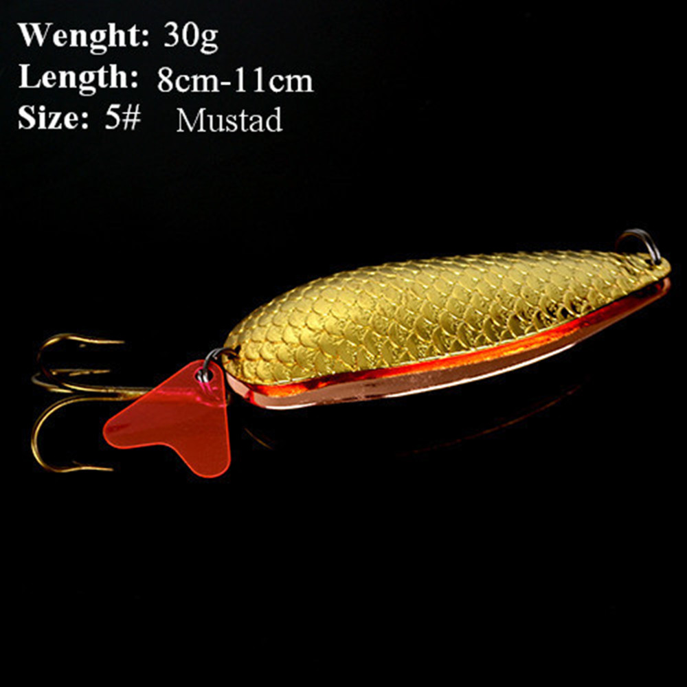 1PC 30g 2 Color Spoon Fishing Lure With#4 Or 5# Mustad Hook Hard Fishing Spoon Lure Metal Jigging Lure Baits<br><br>Aliexpress