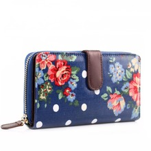 Miss Lulu Women Girls Polka Dots Flower Navy Oilcloth Long Purse Coin Wallet Clutch Hand Bag L1109