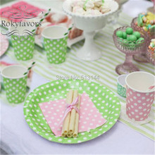 FREE SHIPPING 20PCS 7inch Polka Dot Paper Plates Birthday Party Supplies Events Souvenirs Disposable Paper Plates(China)