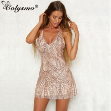 Buy Colysmo V Neck Sexy Sequin Dress Women Mini Party Dress Rose Gold Spaghetti Strap Halter A-Line Women Sequined Evenning Dresses