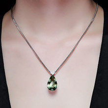 MOONROCY Drop Shipping Silver Color CZ Green Crystal Necklace Heart Waterdrop Pendant Choker for Women Girls Students Gift(China)