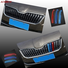 3 Pcs Car Styling New ABS Front Grille Trim Sport Strips sticker Covers Case 3D Stickers For SKODA Superb B8 2016 Accessories