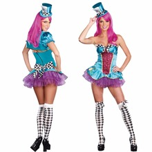 2017 New Halloween Costume Fairy Tale Alice Mad Hat Cosplay Costume Stage Performance Clothing Party Party Service(China)