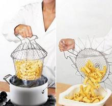 Foldable Steam Rinse Deep Fry French Chef Basket Magic Basket Mesh Basket Strainer Net Stainless Colander Kitchen Cooking Tool