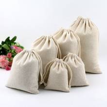 Simple All Size Original Handmade Cloth Cotton Bags White Drawstring Small Pouch Bag Packaging Bags for Jewelry Rings Bracelet(China)