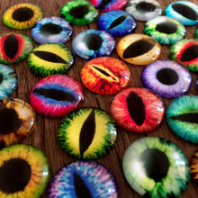 YYW 50pcs 12mm Multicolor Mixed Dragon Eyes Glass Decal Round Flat Back Dome Cabochon Fit Cameo Setting Time Jewelry Cabochons(China)