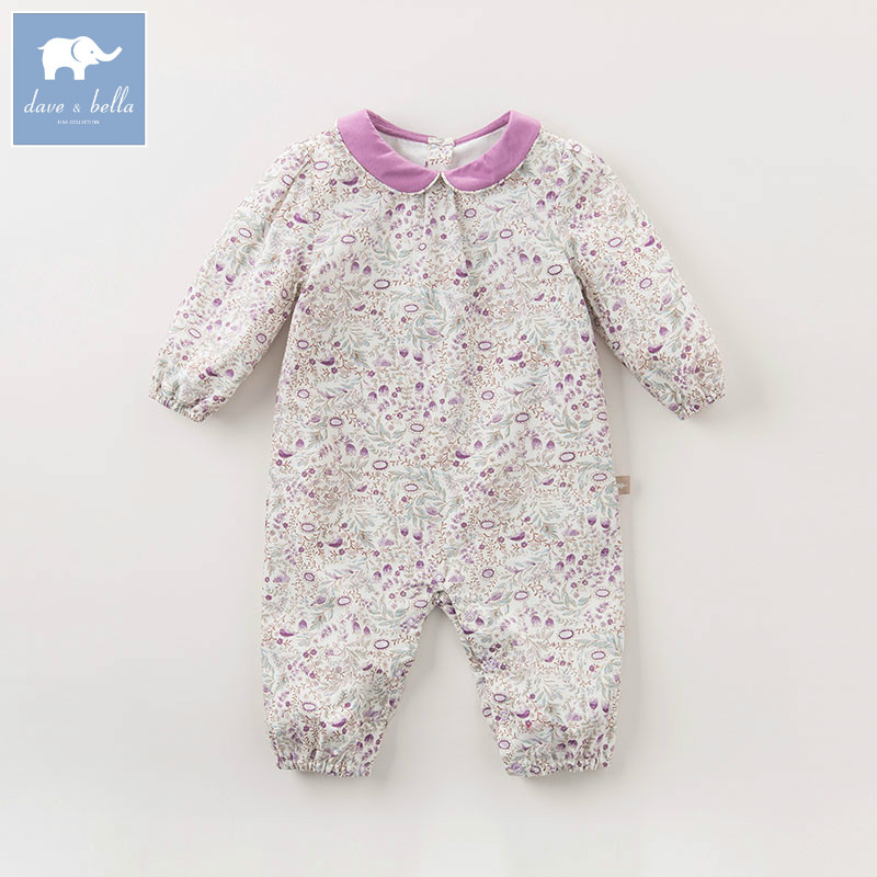 DB5800 dave bella autumn new born baby cotton romper infant clothes girls floral cute romper toddler baby 1 piece<br>