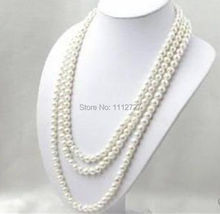 LONG 80 INCHES 7-8MM WHITE AKOYA CULTURED PEARL NECKLACE beads jewelry making Natural Stone YE2077 Wholesale Price
