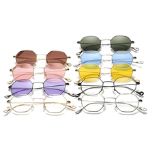 New 9Colors Classic Men Women Hexagon Square Sunglasses Metal Eyewear Fashion Shades Outdoor