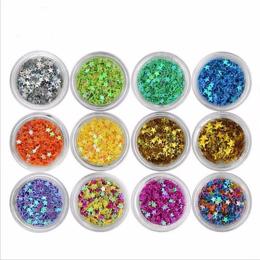 12pcs / box glittering sequins acrylic nail tips Nail design and decoration DIY Nail Tools<br>