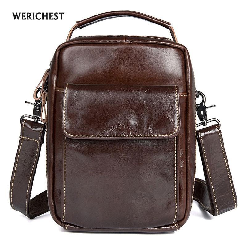 2017 WERICHEST  Bag High Quality Messenger Bags Fashion Shoulder Bags Small Mobile Phone Men Bag  Genuine Leather Handbag  <br>
