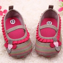 Sweet Newborn Baby Girls Flower Ruffled Shoes Toddler Soft Bottom Kids Crib First Walkers 0-12M
