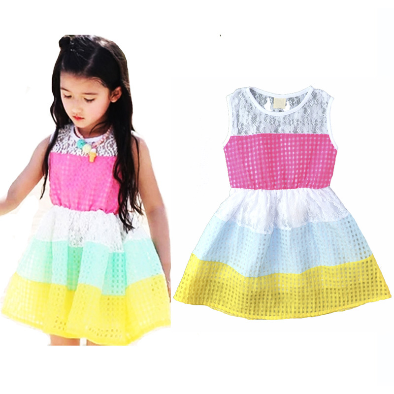 Summer style girl kids clothing dress Fashion rainbow Striped lace princess dress cute baby girls Hollow vest wavy stripes dress(China (Mainland))
