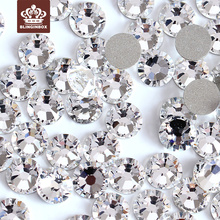 super glitter rhinestones Crystal Clear ss3-ss50 Non HotFix FlatBack Glass Nail Art Rhinestones Nail Decorations H0014(China)