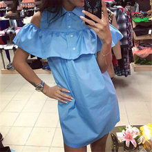 Summer Shirt Dress 2017 New Fashion Off Shoulder Dresses Beach Casual Butterfly Sleeve Straight Blue Red Dress Vestidos