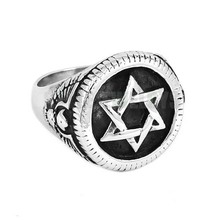 Star of David Ring High Quality Hexagonal Star Stainless Steel Jewelry Fashion Eagle Motor Biker Men Ring Wholesale SWR0674B