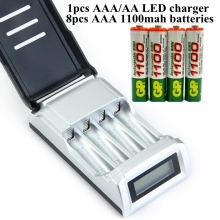 1pc c905w smart charger AA Universal charger LCD ni-cd nimh high quality + 8pcs 1.2v GP aaa rechargeable battery 1100mah ni mh