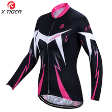 X-Tiger Brand Dalila 100% Polyester Women Cycling Jersey Ropa Ciclismo Long Sleeve Autumn MTB Bike Wear Pink Cycling Clothing(China)