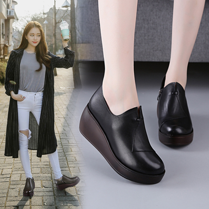 2017 autumn new thick base slope with leather high heels Korean version of the pajamas womens shoes<br>