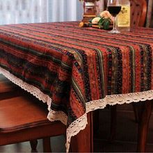 Home textile Small and pure and fresh romantic pastoral style table cloth lace cotton print fabric dining table cover wholesale