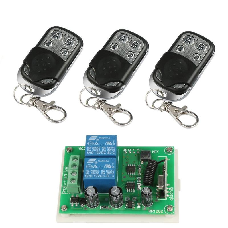 3pcs 433Mhz Universal Wireless Remote Control Switch DC 12V 10A 2CH Relay Receiver Module RF Transmitter 433 Mhz Remote Controls(China)