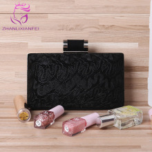 China Suppliers Aliexpress Black flannel Purse Frame Lace Canvas Handbag Vintage ladies Purses Fashion Evening Clutch Bags(China)