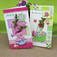 (8 pieces/lot)Wholesale Handmade Diy Creative Greeting Cards Paper Card Best Wishes Gift Card True Flower Message Card to Friend