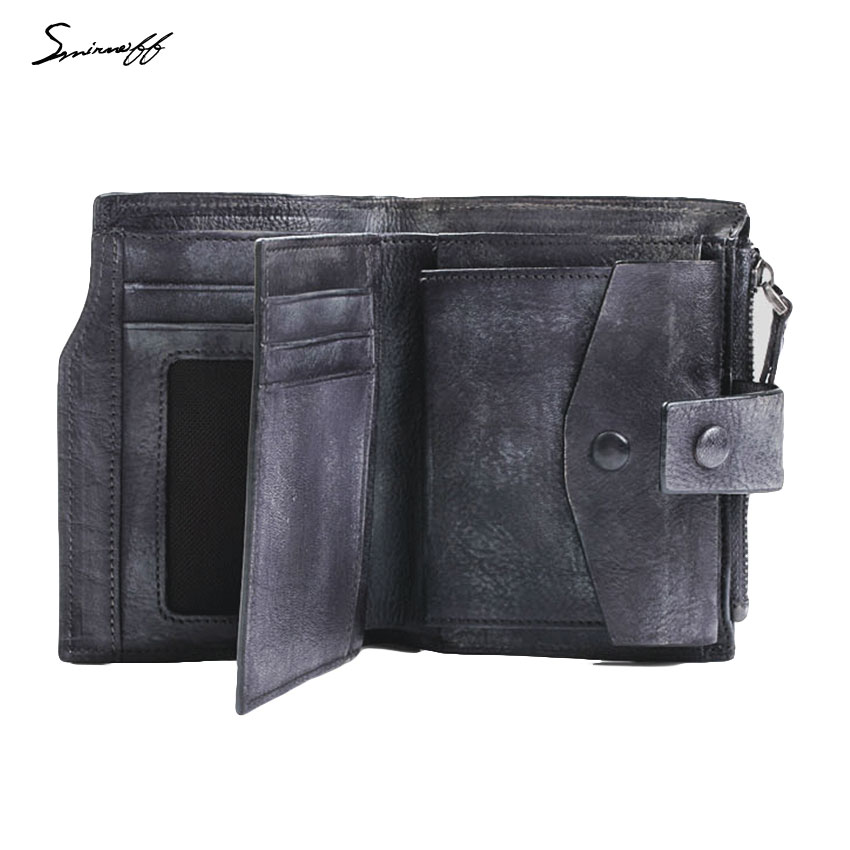SMIRNOFF Vegetable Tanned Leather MenS Wallet Luxury Brand Zipper &amp; Hasp Male Purse Card Holder Man Credit Card Wallet Purse<br>