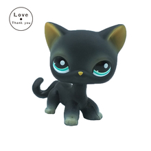 Short Hair Cat LPS #994 animal pet toys European kitty Black kitten with green eyes